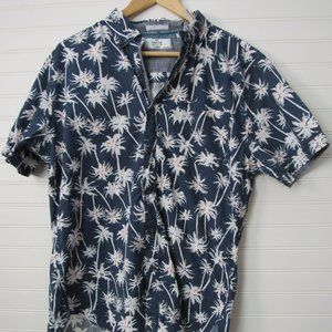 SHORT SLEEVE BUTTON-PALM TREES